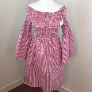 Max Studio Gingham Off The Shoulder Dress